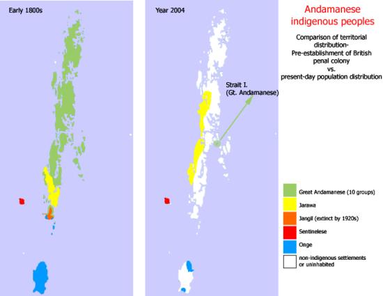 Distribuzione dei popoli indigeni nelle isole Andamane nel 1800 ed oggi. Fonte: wikipedia.